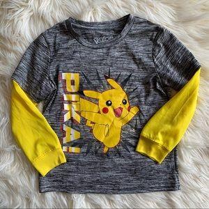 ❤️Pokémon❤️Pikachu Boys 5/6 Long Sleeve Shirt